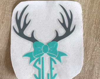 Yeti Decal, Deer Decal, Antler Decal, Ozark Trail Decal, Cute Antler Decal, Antlers with bow, Deer Car Decal,