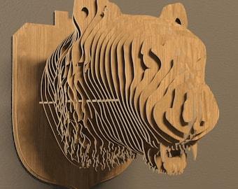 Tiger head 3D model, animals ,CNC ,decoration,decorative ,art ,head ,interior,souvenir ,trophy ,wall ,wood, wooden vector graphic,laser,DXF