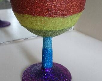 SALE - Reject wine glass - Rainbow glitter.