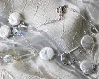 Pretty Freshwater White Coin Pearl Necklace