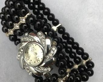 Black pearl silver watch bead bracelet,beaded watch,woman watch, stretch bracelet,black pearl, watch, bracelet, black,Free Shipping