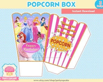 80% OFF SALE Popcorn Box Disney Princess - 3 Designs - Instant Download - PDF Files - High Resolution - Holiday Party
