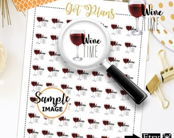 Wine Stickers, Wine Planner Stickers, Printable Planner Stickers, Planner Printable, Planner Decor