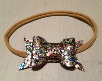 Holiday sparkle mini bow nylon headband