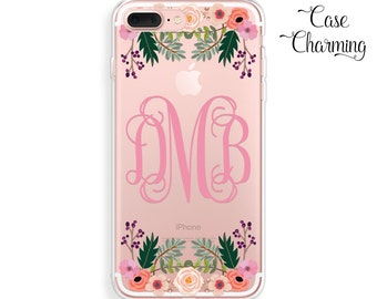 iPhone 7 Case Monogram iPhone 7 Plus Case Floral iPhone 6 Case Clear Phone Case iPhone 6 Plus Case iPhone SE Case Flowers iPhone 5s Case