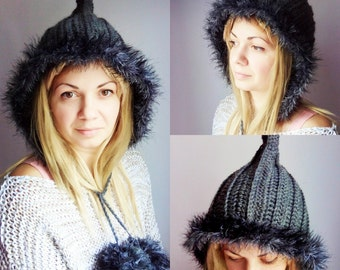 Grey Crochet Hat Gray Womens Hat Crochet Hood Hat Black Vegan Fur Hat Grey Ear Flap Hat - Grey Hat Grey Hood Womens Accessories Winter Hat