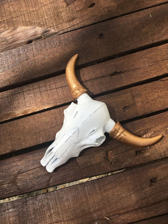 Small White And Glitter Gold Cow Skull Faux Taxidermy Cow Fake