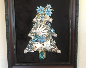 Framed Vintage Jewelry Christmas Tree #32