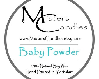 Baby Powder 8oz 100% Natural Soy Wax Scented Candle - 30 hour burn time. Birthday Present, Gift for her