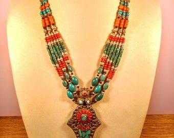 Huge antique Necklace with Coral, Turquoise beads, 89gr
