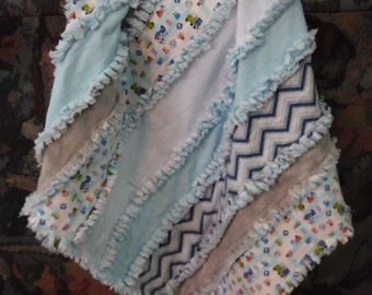baby blanket, baby rag quilt, baby rag strip quilt, baby boy blanket, flannel blanket, ready to ship