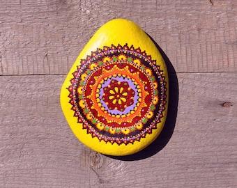 Hand-painted Mandala Stone Sunset