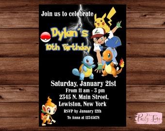 Pokemon Invitation,  Pokemon Birthday Invitation,  Pokemon Invite,  Pokemon GO invitation.