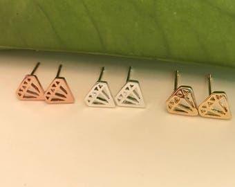 Diamond Stud Earrings | Silver diamond earrings | Silver Stud Earring| Diamond Outline Stud Earrings| Dainty Earrings|Diamond shape Earring