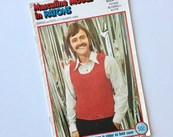Patons Masculine Moods Knitting Instruction Book 419 1970s  Menswear Knitwear