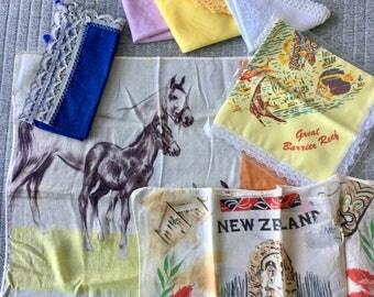 Set of 7 Vintage Australian and New Zealand Handkerchiefs in Plastic Box Hankies Great Barrier Reef Tiki Queensland Australia