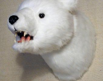 "Plush Polar Bear Head ""Callisto"" Large Wall Mount"