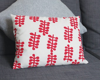 Raspberry Frond Hand Screen Printed Cushion -  10 x 14 inches
