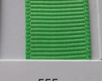"3/8"" / 10mm Solid Grosgrain Ribbon FLASH GREEN #555 X 2 METERS"