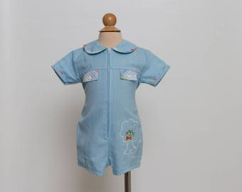 vintage baby boy romper with lion 60s/70s