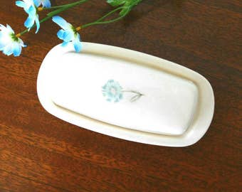 Taylor Smith Taylor vintage 1950s BUTTER dish in Forever Yours  BOUTONNIERE pattern