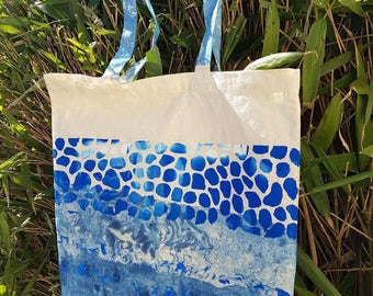 Pebbled sea scape hand printed tote