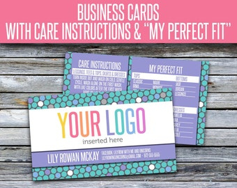 Business Cards with Care Instructions and My Perfect Fit! LLRBC003