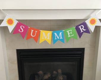 Summer Banner, Summer Decor, Summer Garland, Seasonal Decoration, Suns, Photo Prop, Bright Colors, Classroom Decor, Back Drop