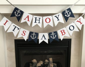 Boy Baby Shower Banner, Ahoy It's A Boy Banner, Baby Shower Decoration, Nautical Baby Shower, Anchors, Navy, Red, White, Photo Prop, Newborn