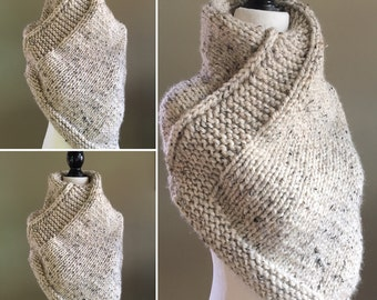 Womens Handmade Knit Spring Poncho- Oatmeal Beige