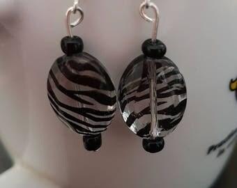 Clear/Orange Zebra striped earrings