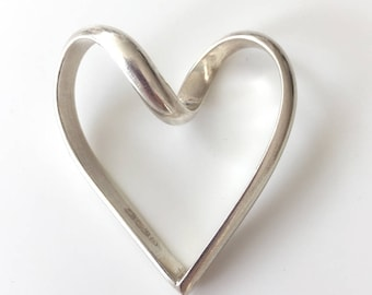 Large Handmade Sterling Silver Heart S059