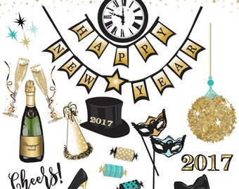 New Year's Eve Gold Vector Graphics Clipart Collection