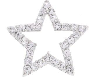 Dazzling 10K White Gold Quartz Star Pendant - 1.9 Grams