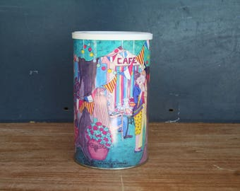 Box, pretty metal box enamels.  Former power box.  Pot enamels. French vintage.   Box decorative.  Home décor.