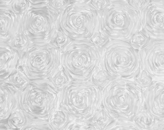 WHITE Satin Rosette Fabric by the Yard