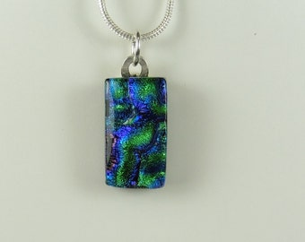Dichroic Fused Glass Pendant - Blue and Green - Sterling Silver Snake Chain