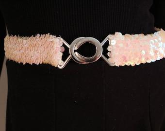 White 50s 60s Sequin Belt