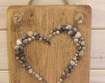 Seashell heart , beach house decor,bathroom art