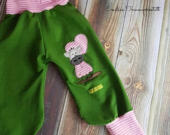 Cow sweat pants Green Pink stripes so kuuhhhl jogging