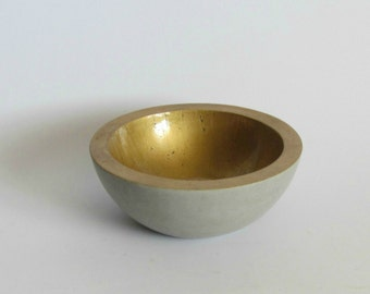 Concrete Bowl -  Gold, Concrete Gold Bowl, Concrete Fruit Bowl, Concrete candies Bowl, Concrete nuts Bowl
