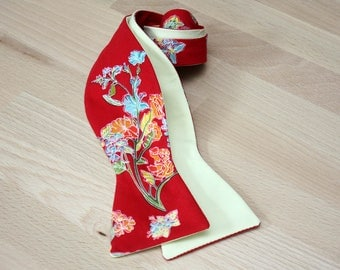 Mens Red floral and light yellow Cotton bow tie Necktie for Men Camellucci CR275