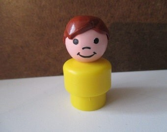 Vintage Fisher Price Little People - Smiling Boy with Brown Hair