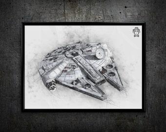 Millennium Falcon print, starwars print, millennium falcon drawing, home decor, wall art