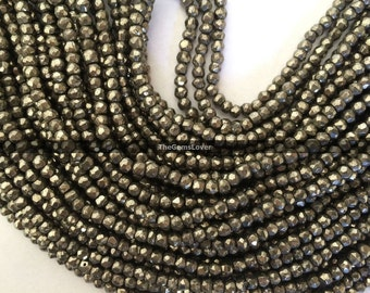 13 Inch Pyrite Faceted Beads AAA+ Quality Natural Pyrite Faceted Rondelle Beads Stone Size 2mm Golden Pyrite Micro Faceted Beads