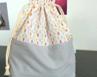 Pouch pattern drops in cotton or knitting or crochet work bag