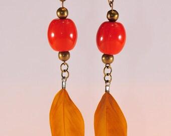 Dangle earrings Orange, mustard feathers