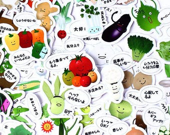 40pcs Japanese Vegie- Japanese scrapbooking stickers,scrapbooking,decorative stickers, japanese stickers,decor stickers,kawaii stickers