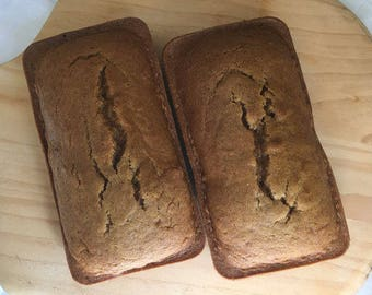 """2 (8""""x 4"""") Loaves 1.5 lbs EACH Pumpkin Bread ~ Baked/Shipped Same Day ~ Nuts, Raisins Gluten Free Options ~ DELICIOUS!"""