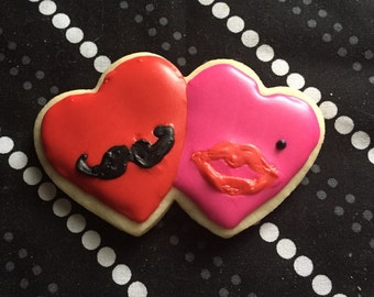 His and hers Valentine's Day cookies